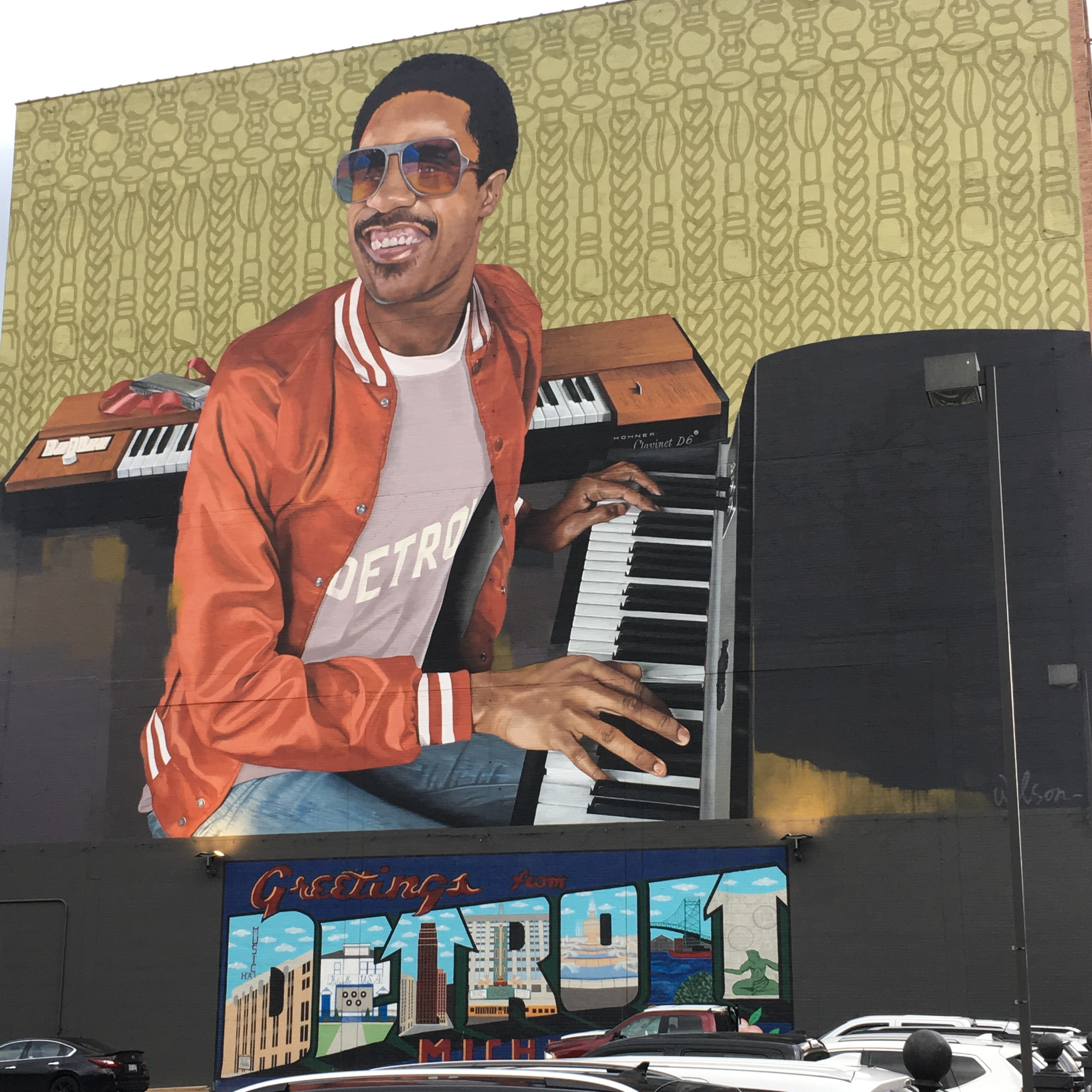 A mural of Stevie Wonder in downtown Detroit.