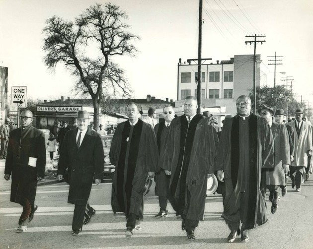 W. W. Law and local pastors lead march in solidarity with Selma to Montgomery marchers down West Broad Street, March 1965. Courtesy of the City of Savannah Municipal Archives.