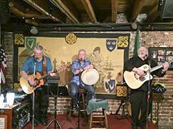 Carroll Brown, Harry O'Donoghue, and Frank Emerson playing in the Listening Room. Photo courtesy of Kevin Barry's.