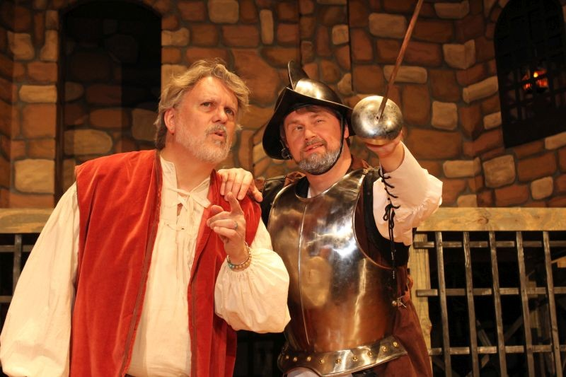 Ray Ellis, left, is Sancho Panza; Justin Kent portrays Cervantes/Quixote - RED CARPET IMAGERY
