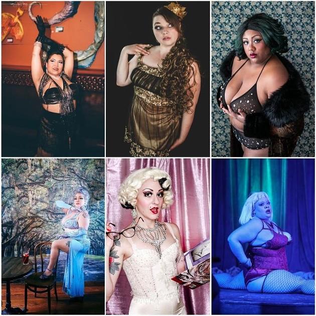 Clockwise from top left; Perlita Picante, Vixen Valentine, Mx. Pucks A'Plenty, Solangerie, Freaky Candy, and Rita D'LaVane.