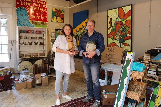 Leslie Lovell and Russell Kueker pack up the gallery and their favorite pieces.