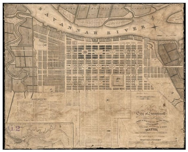 Circa 1820 map of Savannah. - COURTESTY CITY OF SAVANNAH