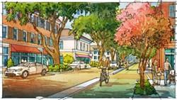 Active Transportation — Illustration of improved bike lanes on Habersham within the 2033 Plan.