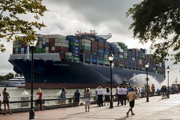 The CMA CGM Brazil on its way up the Savannah River. - PHOTO COURTESY CMA CGM