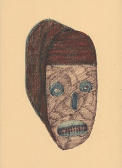 Curse, pen, crayon, and marker on Manila paper, 9 x 12 inches, 2020.