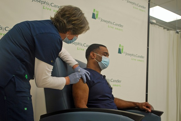 A St. Joseph's/Candler healthcare employee receives a COVID-19 vaccine shot on Dec. 15. - COURTESY OF ST. JOSEPH'S/CANDLER