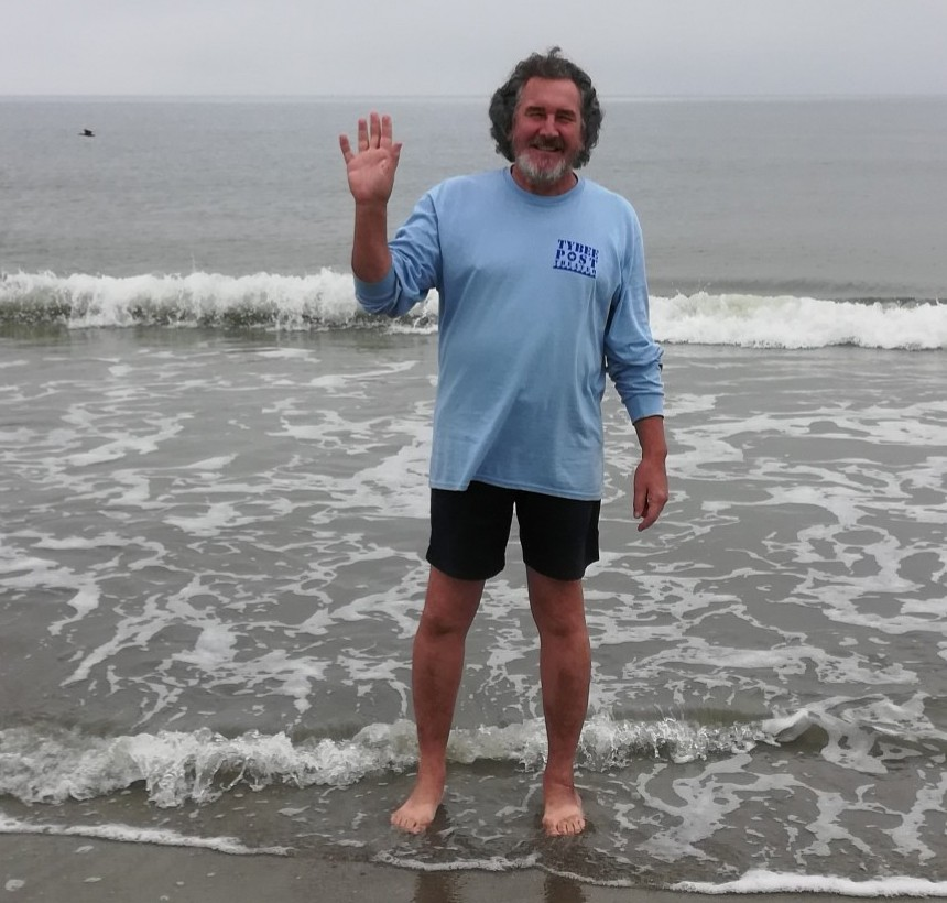 Tybee Post Theater projectionist Steve Johnson demonstrates how to participate in the Jan. 1, 2021 virtual Polar Plunge. - COURTESY OF THE TYBEE POST THEATER