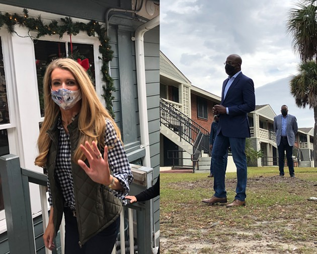 LEFT: Republican U.S. Senator Kelly Loeffler campaigns in Thunderbolt on Dec. 12. RIGHT: Democratic U.S. Senate candidate Rapahel Warnock visits his childhood home in Savannah on Dec. 18. - NICK ROBERTSON/CONNECT SAVANNAH
