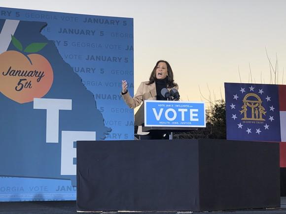 Vice-President-elect Kamala Harris speaks at a Garden City rally on Jan. 3 supporting Georgia's Democratic U.S. Senate candidates Raphael Warnock and Jon Ossoff. - BRANDY SIMPKINS/CONNECT SAVANNAH