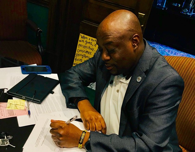 Savannah Mayor Van Johnson signs an April 30 emergency order in response to 2020's COVID-19 outbreak. - COURTESY OF MAYOR VAN JOHNSON