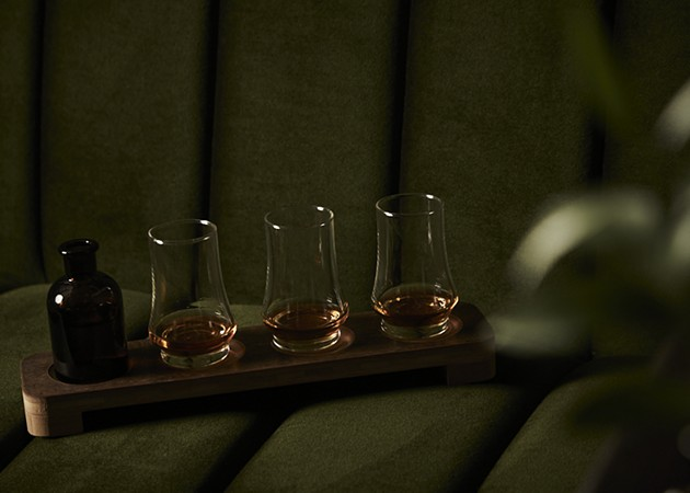 A whiskey flight served by The Trade Room. - PHOTO COURTESY OF THE ALIDA HOTEL