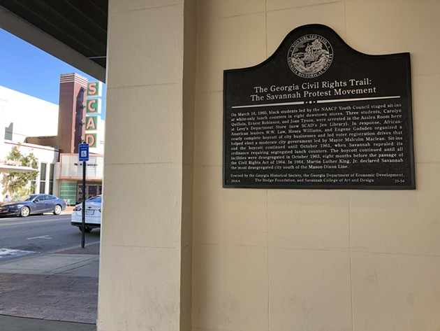 The historical plaque mounted on the former Levy's department store on Broughton Street in Savannah. - NICK ROBERTSON/CONNECT SAVANNAH