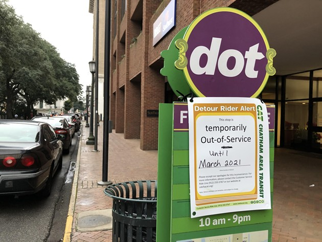 A stop on downtown Savannah's DOT shuttle-service line, which remains suspended since 2020. On Feb. 15, CAT announced the suspension of its airport-shuttle service. - NICK ROBERTSON/CONNECT SAVANNAH