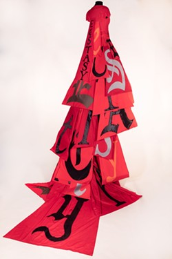 'Red Ecstasy Dress from Divide Light' by Lesley Dill. - PHOTO COURTESY OF TELFAIR MUSEUMS