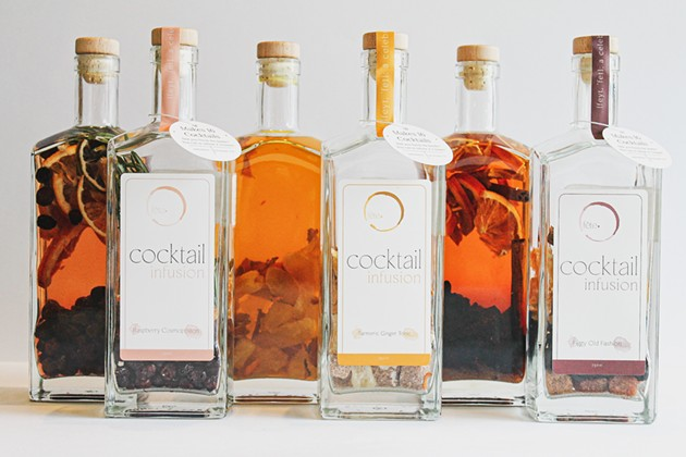 The full line of new cocktail infusions created by Savannah-based Fête. - MARGUERITE SECKMAN