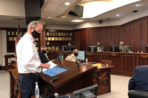 Dr. Lawton Davis, the Coastal Health District health director, presents a COVID-19 response update to the Chatham County Commission on Feb. 26. - NICK ROBERTSON/CONNECT SAVANNAH