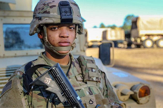 Pfc. Precious Harris, a fire control specialist with the fire control element of 3rd Infantry Division Artillery, on Fort Stewart. - PFC. SUMMERMADELEINE KEISER