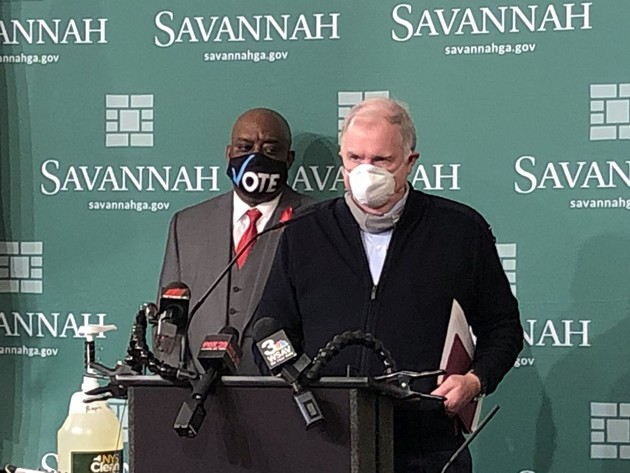 Savannah Mayor Van Johnson, left, appears with interim City Manager Michael Brown at a December press conference. - PHOTO BY NICK ROBERTSTON