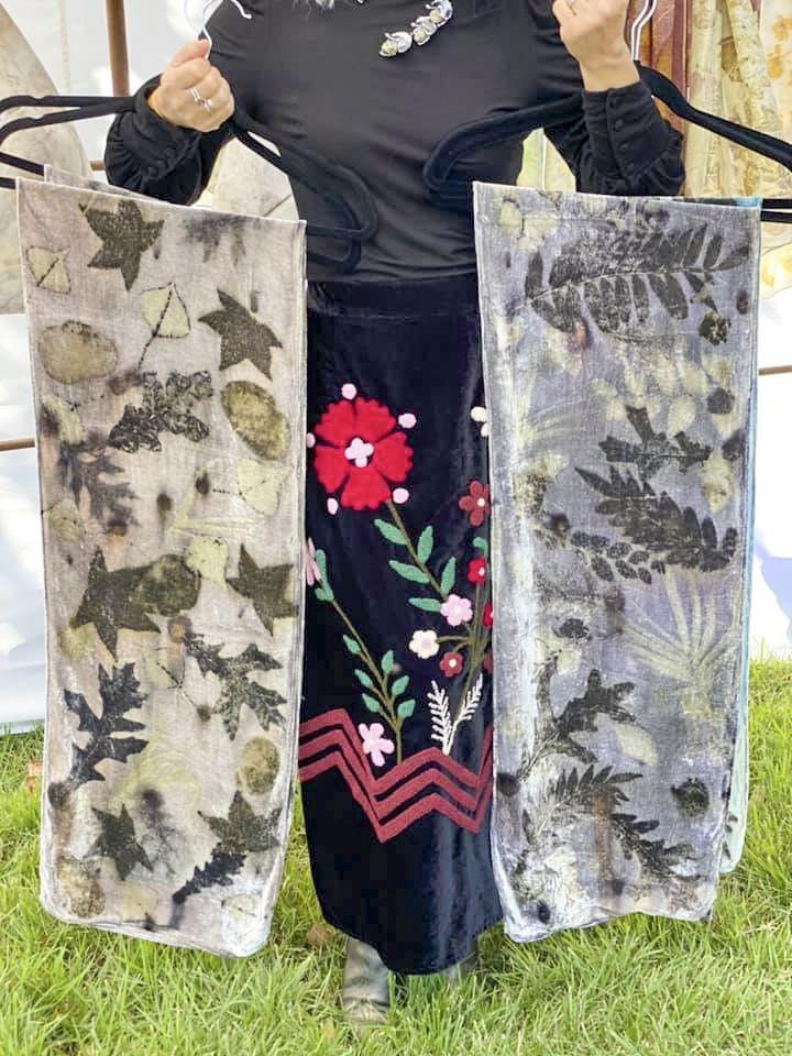 Stella Ranae Von Schmid displays her leaf-imprinted textile art at the Savannah Local Artist Market. - PHOTO COURTESY OF SLAM