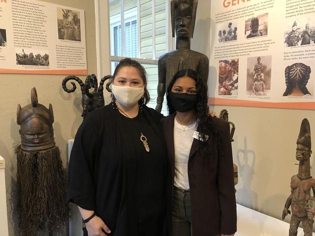 Billie Stultz, left, and Devon Vander Voort at the exhibit. - PHOTO BY BRANDY SIMPKINS