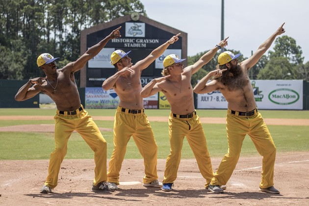 Savannah Bananas baseball team players dance during a game at their home in historic Grayson Stadium. Fans can expect the excitement of the break-dancing first-base coach, a male cheerleading team called the Mananas, a senior citizen dance team called the Banana Nanas and more at every premier team and collegiate game. - PHOTO COURTESY OF THE SAVANNAH BANANAS
