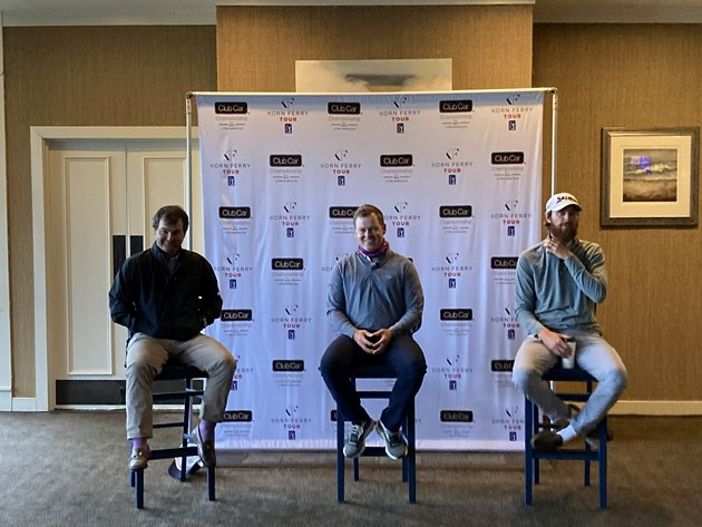 Korn Ferry Tour members Greyson Sigg, Shad Tuten and Evan Harmeling speak to attendees at a media day March 2 at the Deer Creek Course at The Landings. - PHOTO BY NOELLE WIEHE