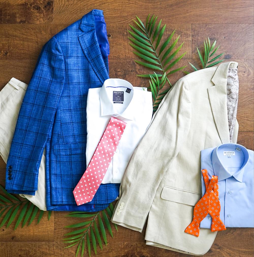 Blue Plaid Jacket  from Joseph's Clothiers; White Button-down Shirt from Joseph's Clothiers;  - Linen Khaki Jacket from Joseph's Clothiers; Blue Button-down Shirt  from Joseph's Clothiers. - PHOTO BY HUNTER MCCUMBER