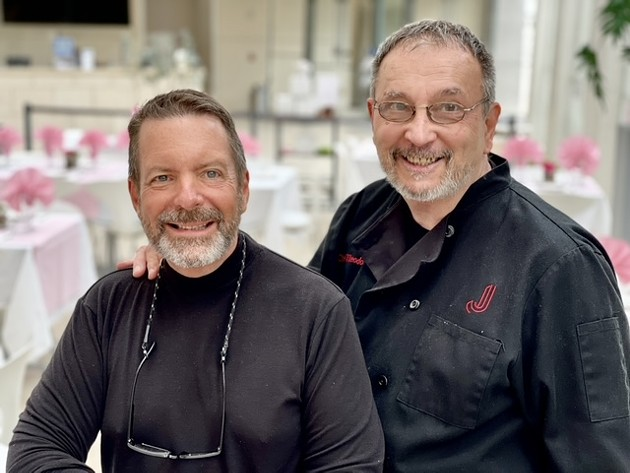 Co-owners Chef Theodore Paskevich and Don Holland celebrate the success of Afternoon Tea at Joe's at the Jepson July 21 at Telfair's Jepson Center for the Arts. - PHOTO BY BUNNY WARE
