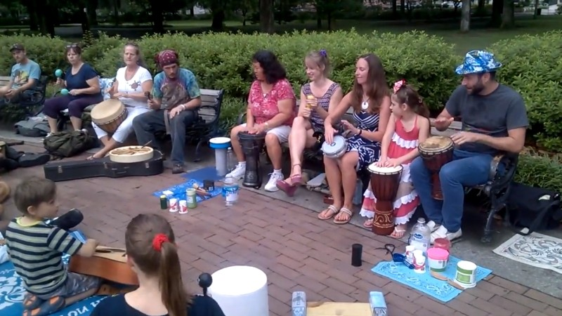 Keeping the beat in the Forsyth Park drum circle; a similar circle will be formed at ManiFest