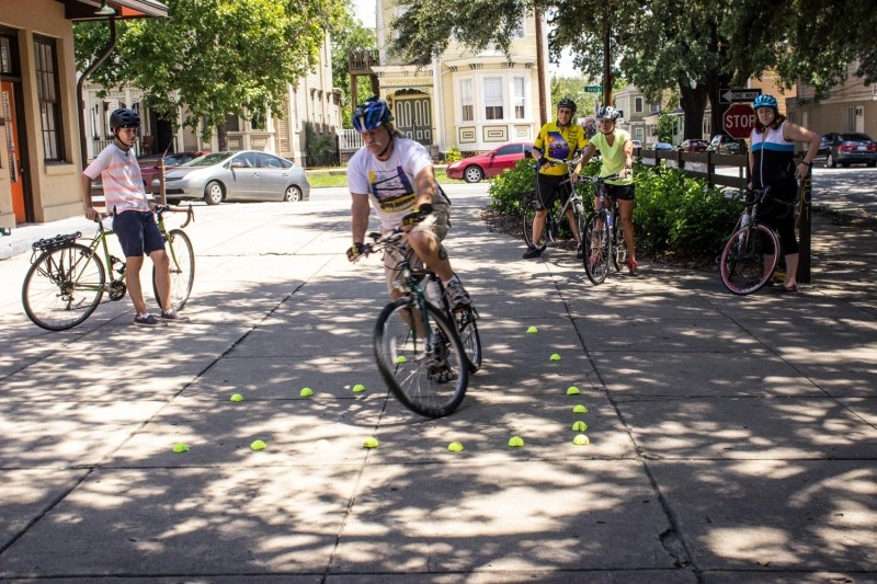 """Ken Robichaux initiates an """"Instant Turn,"""" used if a driver turns left into the path of a person on a bike."""