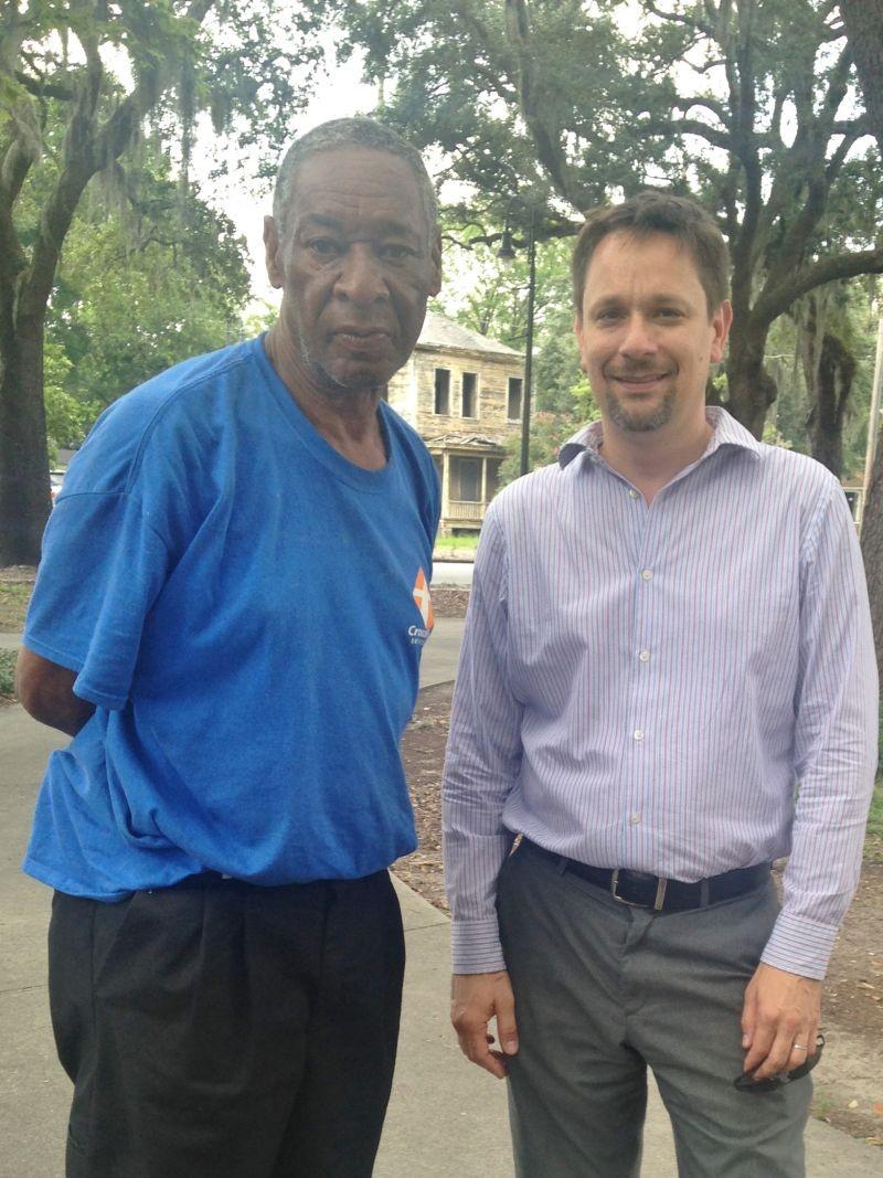 "Howard ""Sidewalk"" Carlton (l.) discusses the future of Wells Park (aka ""38th Street Park"") with SDRA executive director Kevin Klinkenberg."