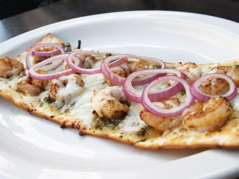 Go beyond pizza with the Pesto Shrimp flatbread