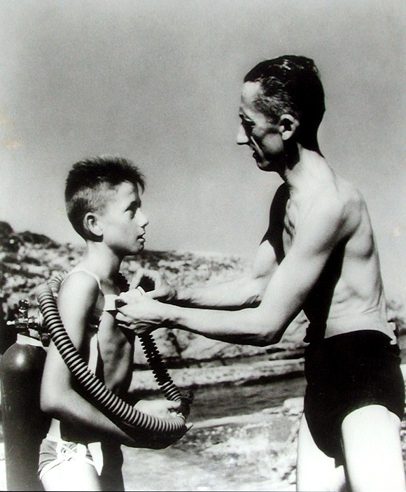 A young Jean-Michel with his famous father Jacques Cousteau