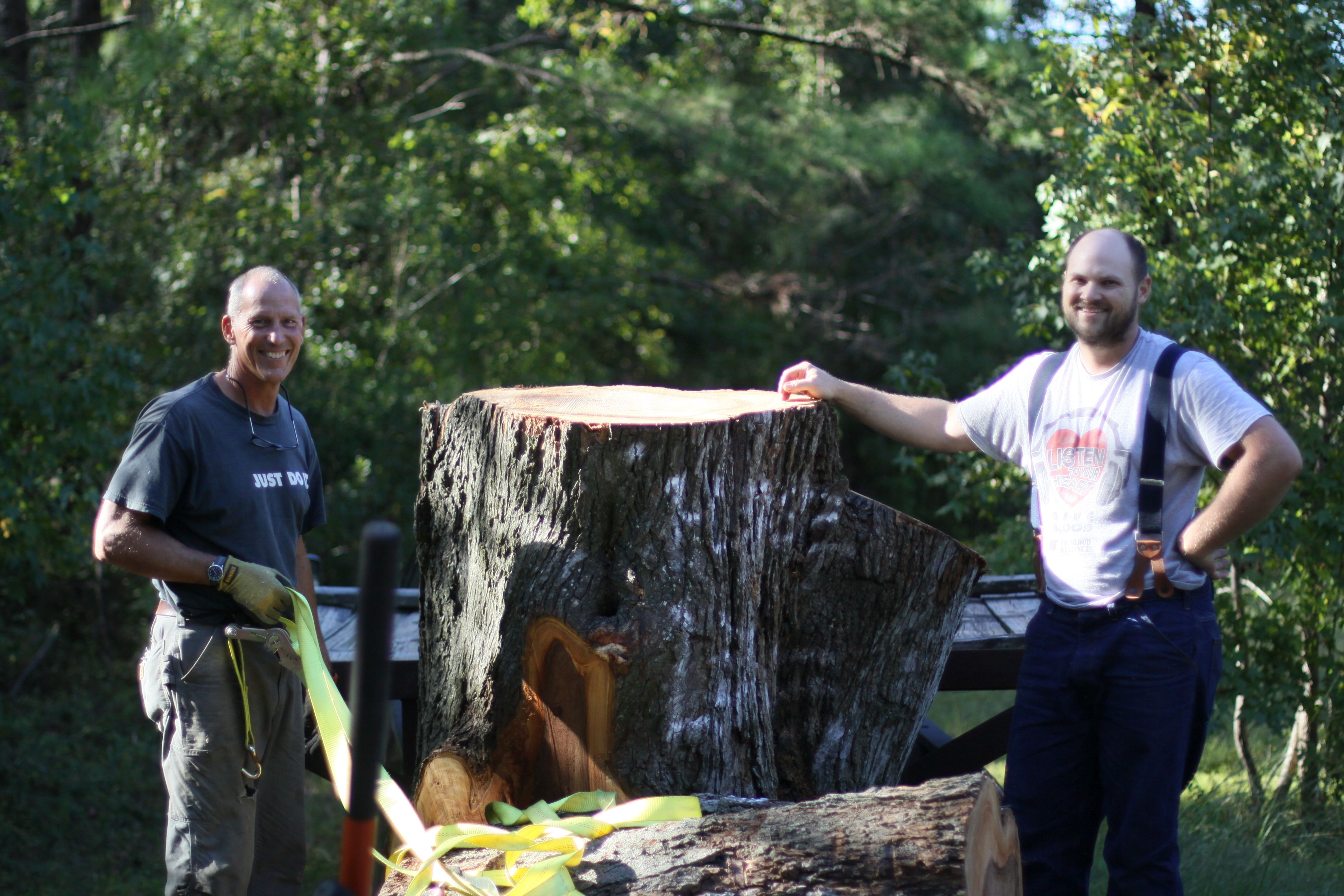 Charley Ward (r.) and Bart Haigh are saving Savannah's historic trees from the landfill.