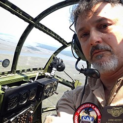 Selfie of the author in the nose of the B-25, where the bombardier sat.