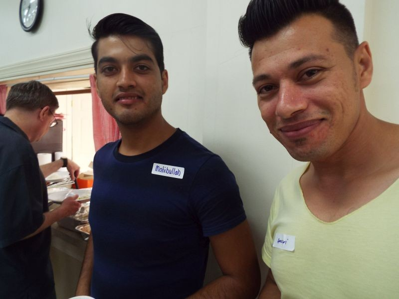 Mohibulla Alizi and Ameri Zabiullah of Aghanistan at a recent welcome dinner for refugees living in our area.