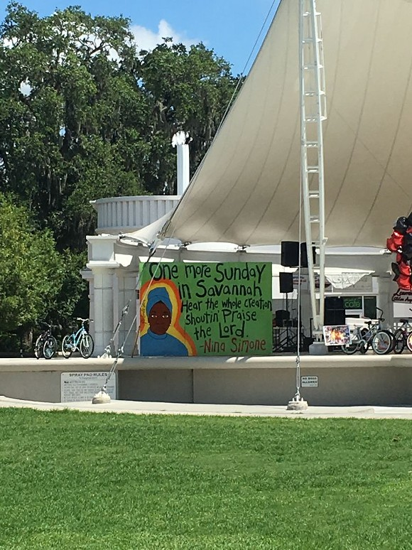 A 12'x8'-foot portrait of vocalist and activist Nina Simone found a temporary home in Forsyth Park over the weekend, though plans for its future remain uncertain.