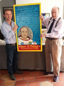 The writer's nephew, Chase, with her father, former Apollo astronaut Edgar Mitchell.