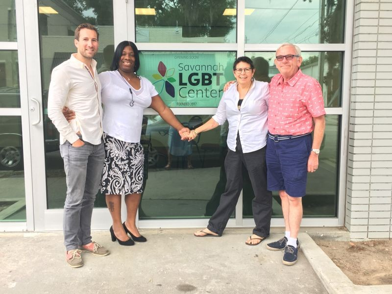 Left to right: Dusty Church of Savannah Pride, Evonia Pollard of Transgender Empowerment Education, therapist and advocate Karen Abato and First City Network chair Michael Ploski at the new Savannah LGBT Center.