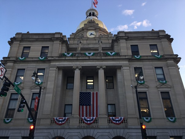 The bunting on City Hall