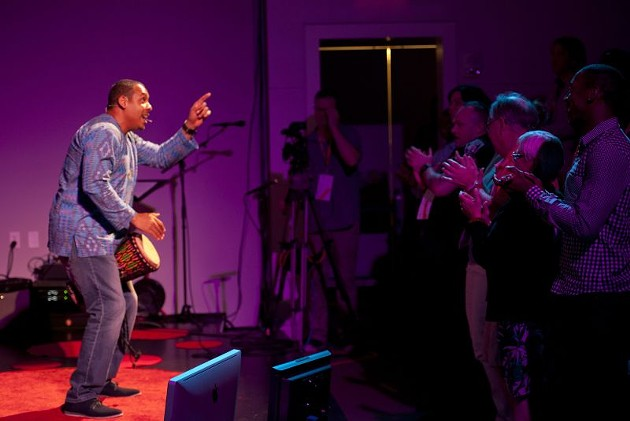 TEDxSavannah speaker Nick Oji closed out the 2017 show and had attendees dancing.