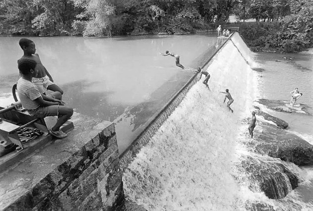 Boys on Mill Dam, 1984.