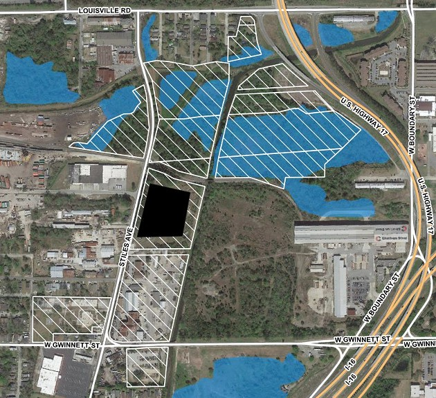 Map of City-owned parcels at site (white hatching) with wetland areas identified (blue). Map by author
