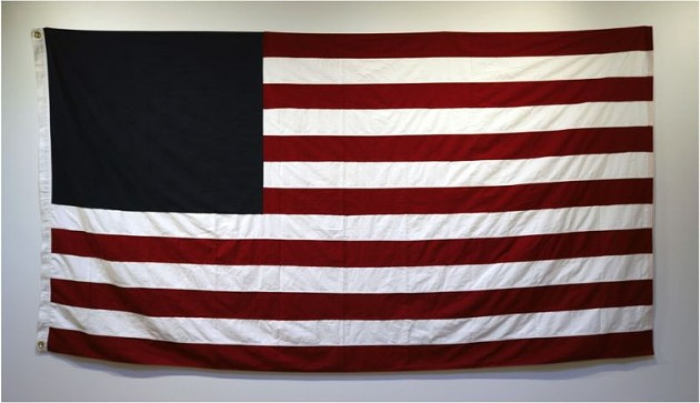 """2.Untitled (State of the Union), 60""""x114"""", United States burial flag, 2018"""
