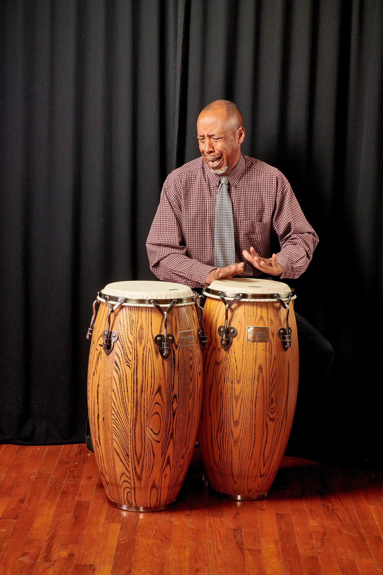 """Percussion king Terry """"Doc"""" Handy infuses Latin jazz and R&B into his sounds during a live performance. Catch Doc Handy this year at the Savannah Jazz Festival."""