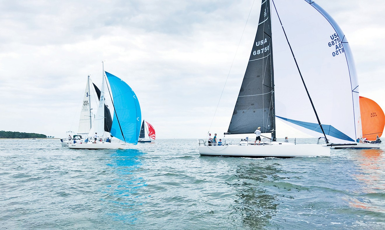 Competitors in the Low Country Hook Ocean Race ride high on the approach to the finish line at Landings Harbor Marina.