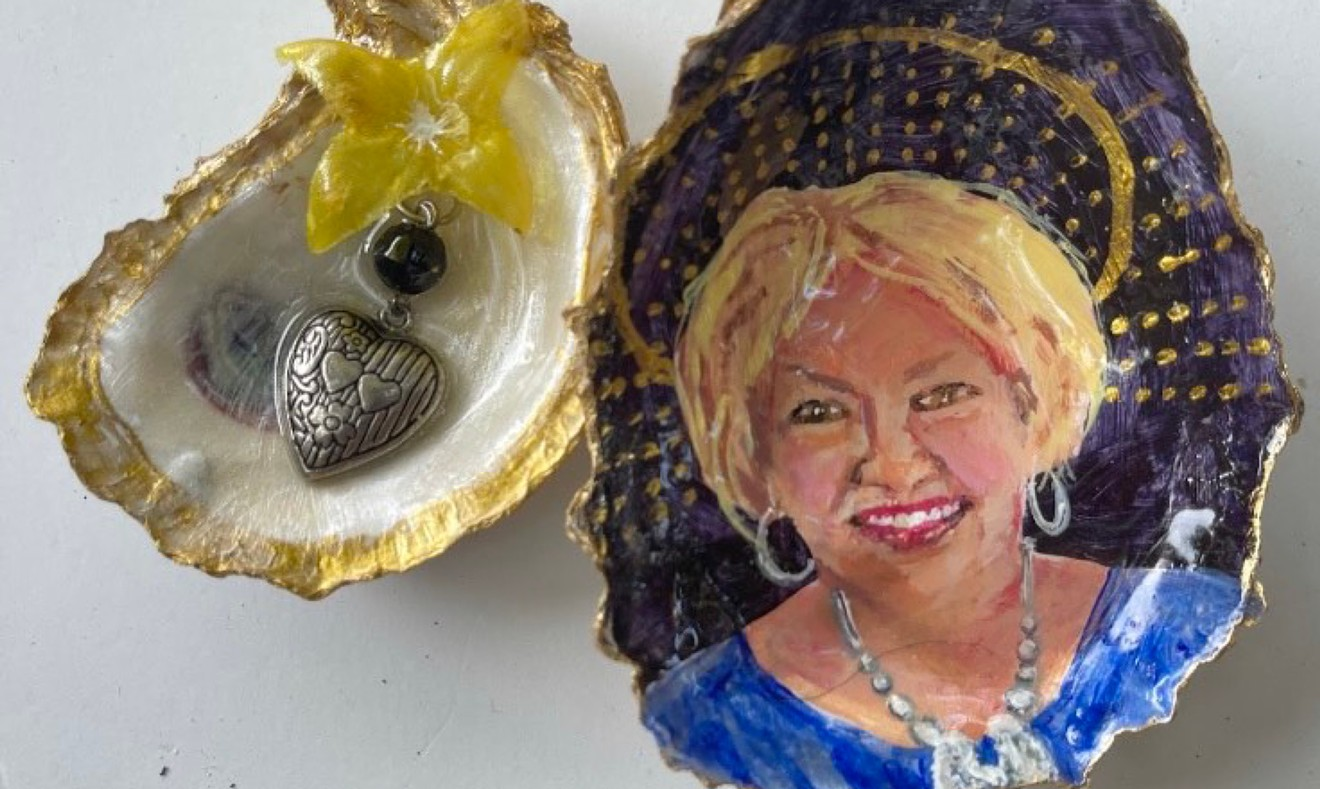 Oyster shell portrait of Martha Chapman by Shelley Smith