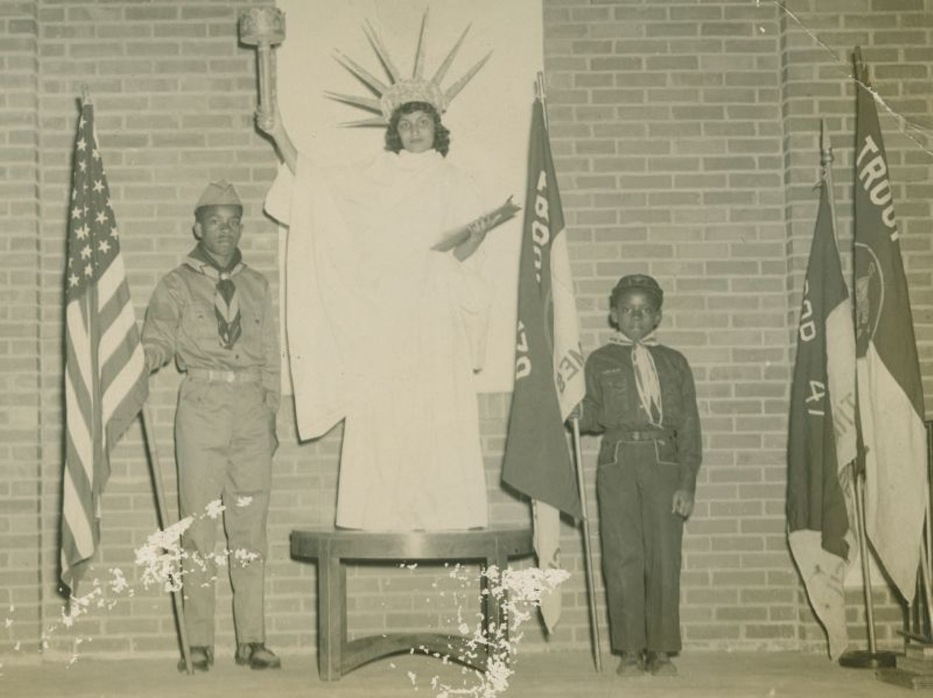 "Images of Boy Scouts with ""Statue of Liberty"" circa 1950s"