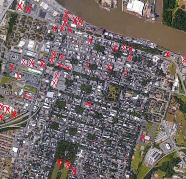 Red X's show where modern hotels, parking garage and other - large construction projects have destroyed portions of entire archaeological sites. These are only some examples, and do not include other areas where sites have been damaged partially. - FROM THE SAAG PRESENTATION